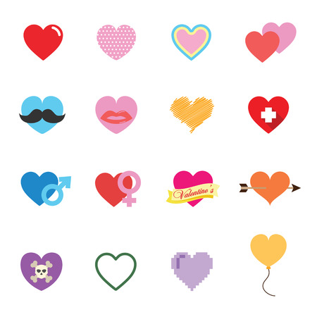 arrow poison: colorful valentine heart icons Illustration