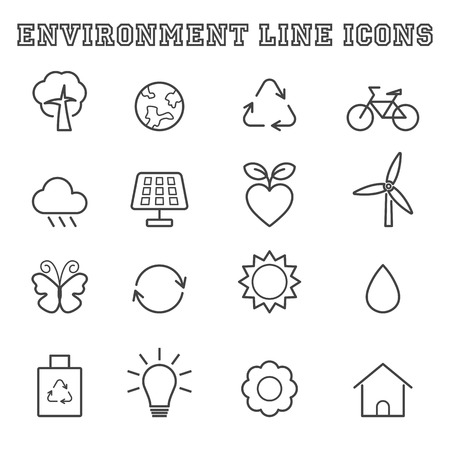 environment line icons Vector