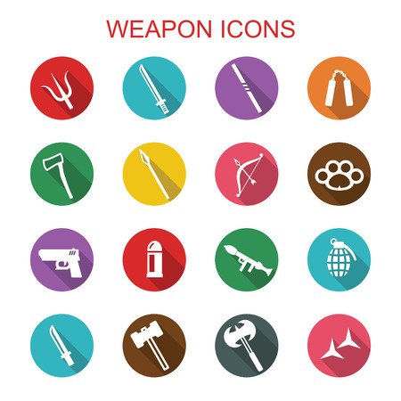 weapon long shadow icons Vector