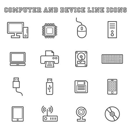 lcd monitor printer: computer and device line icons, mono vector symbols Illustration