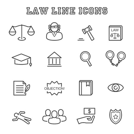 legal books: law line icons, mono vector symbols