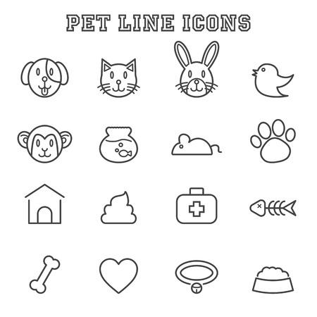 pet line icons, mono vector symbols Vector