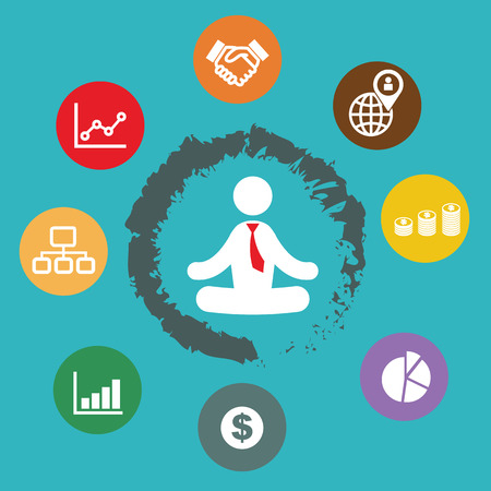 spiritual growth: businessman meditation with business plan icons Illustration