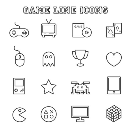 computer mouse: game line icons, mono vector symbols