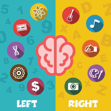 creativity concept: left and right brain, creativity concept Illustration