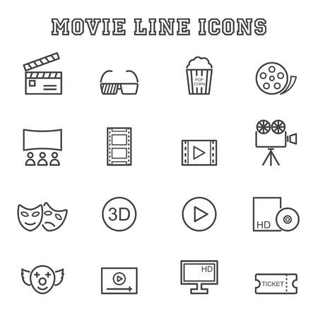 movie line icons, mono vector symbols Vector