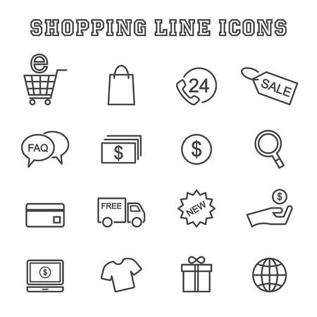 shopping lijn iconen, mono vectorsymbolen Stock Illustratie