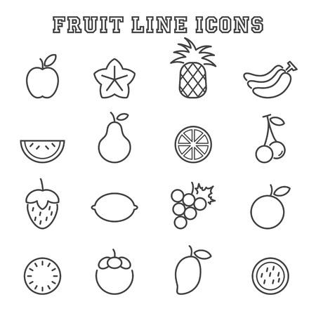 owoców: ikony, symbole owoców linia mono wektorowe Ilustracja