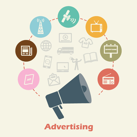 advertising concept, vector media icons