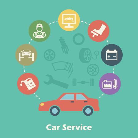 car maintenance: car service concept, vector icons