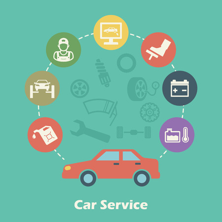 car service concept, vector icons