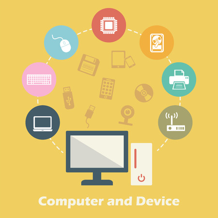 lcd monitor printer: computer and device concept, vector technology icons