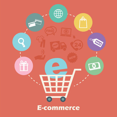 e-commerce concept, vector shopping icons Vector