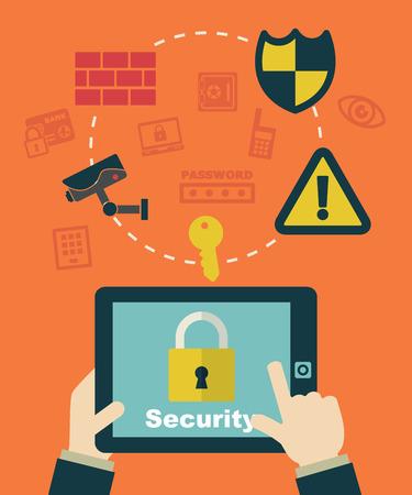 clicking: security system, businessman clicking on tablet. Illustration