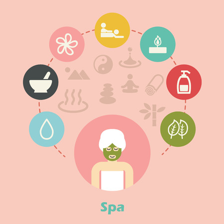 skin oil: spa concept, wellness icons