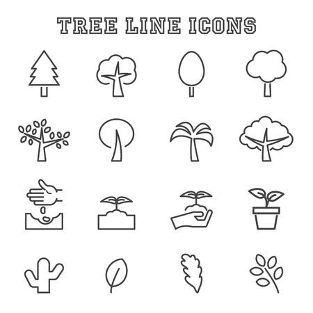 compost: tree line icons, mono symbols