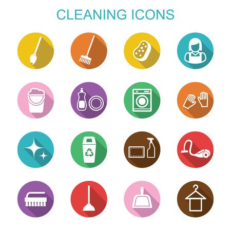 escoba: limpieza sombra iconos largos, símbolos vectoriales planas