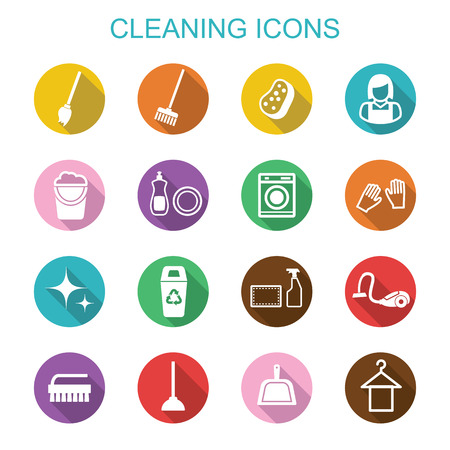 cleaning long shadow icons, flat vector symbols Vettoriali