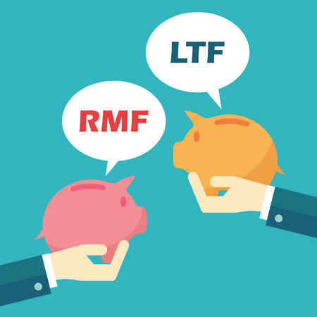 rmf and ltf, mutual funds concept Vectores