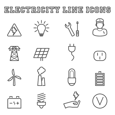 energy logo: electricity line icons, mono vector symbols