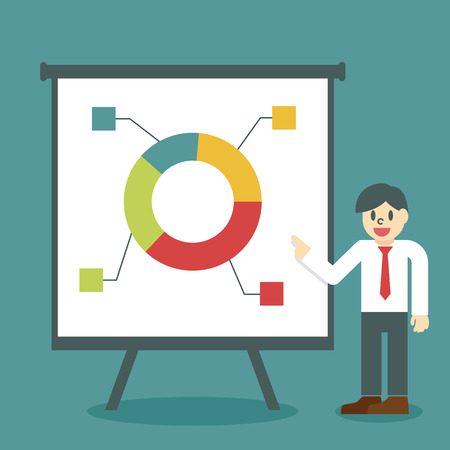 power point: presentation concept, businessman giving a presentation about market share Illustration