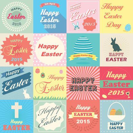 christian easter: set of happy easter, emblems vector