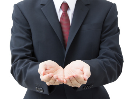 show of hands: business hands as if holding someting isolated on white Stock Photo