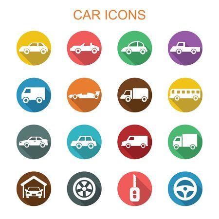 mini bus: car long shadow icons, flat vector symbols