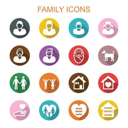 family long shadow icons, flat vector symbols Vettoriali