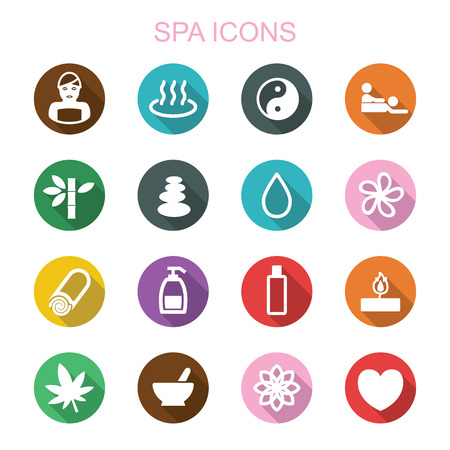 massage therapy: spa long shadow icons, flat vector symbols