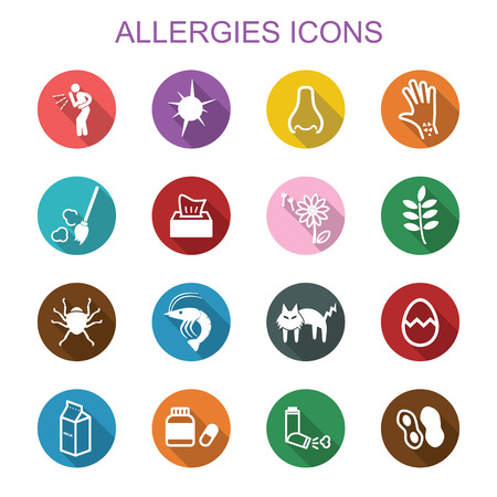 food allergy: allergies long shadow icons, flat vector symbols