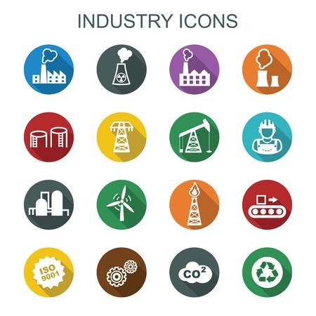 electricidad industrial: iconos larga sombra de la industria, símbolos vectoriales planas