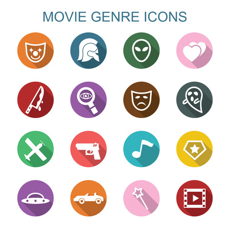 movie genre long shadow icons, flat vector symbols