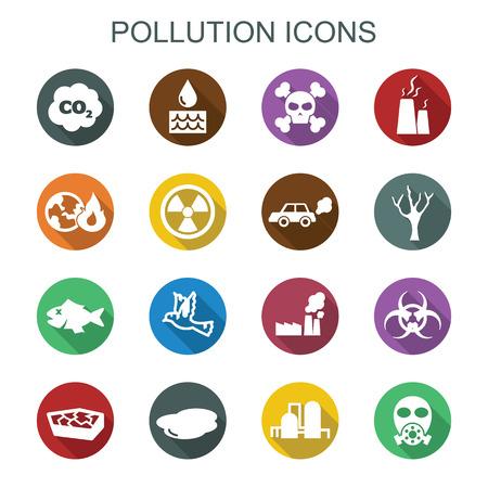 pollution long shadow icons, flat vector symbols Vector