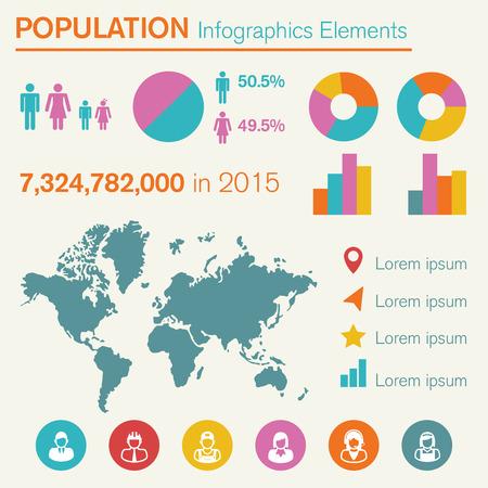 population infographics elements, vector symbols Vector