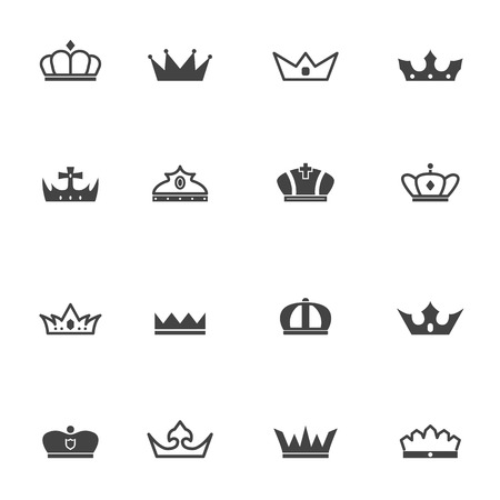 royal logo: crown icons, mono vector symbols Illustration