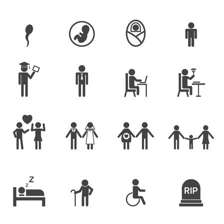 life: human life icons, mono vector symbols