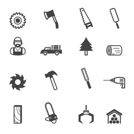 carpenter tools: sawmill icons, mono vector symbols