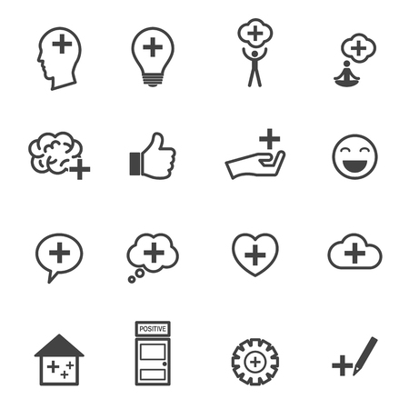 think positive icons, mono vector symbols Vector