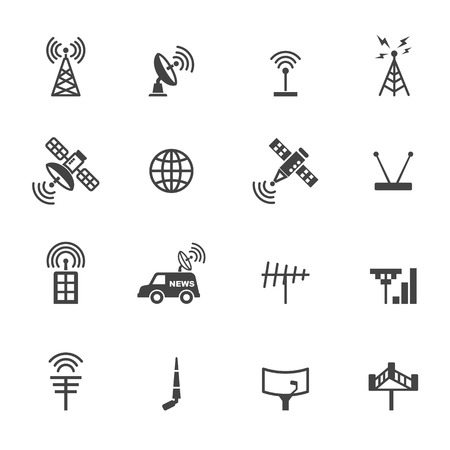 network and media: antenna and satellite icons, mono vector symbols