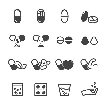 drugs pills: capsule and pill icons, mono vector symbols