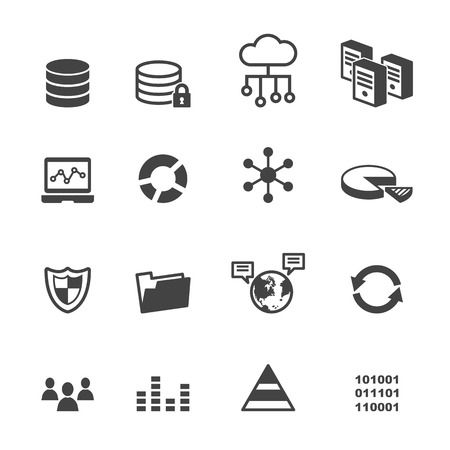 global security: data icons, mono vector symbols