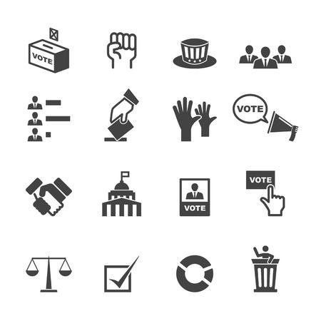 democracia: iconos democracia, símbolos mono vector Vectores