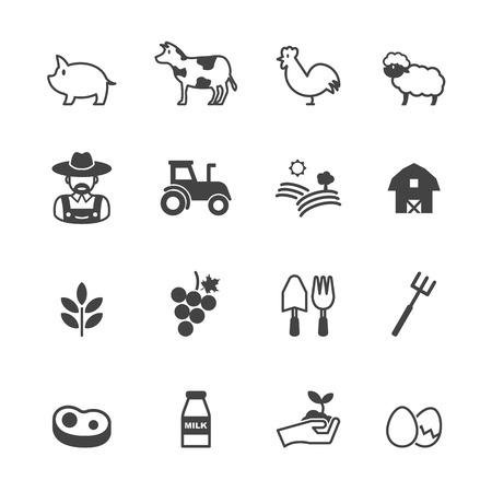 farming icons, mono vector symbols