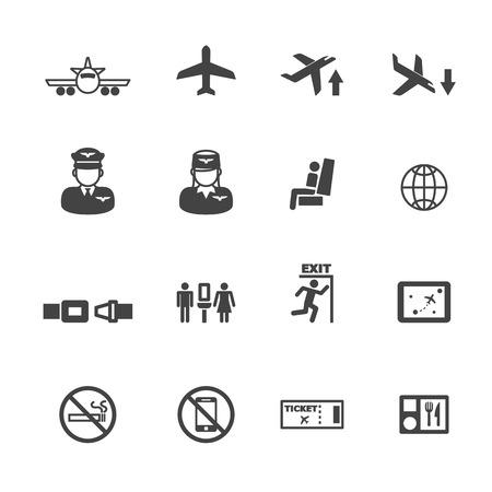 exit icon: flight icons, mono vector symbols Illustration