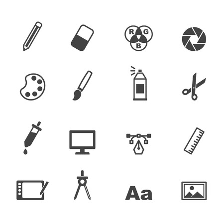 of computer graphics: graphic design icons, mono vector symbols