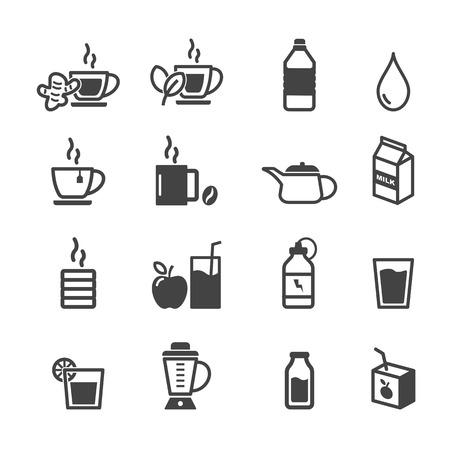 healthy drink icons, mono vector symbols