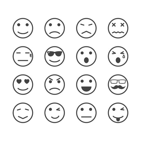 emoticons: human emotion icons, mono vector symbols Illustration
