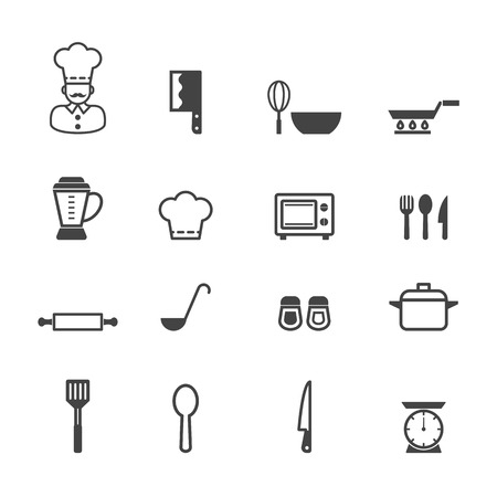 kitchen icons, mono vector symbols