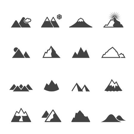 mountain icons, mono vector symbols